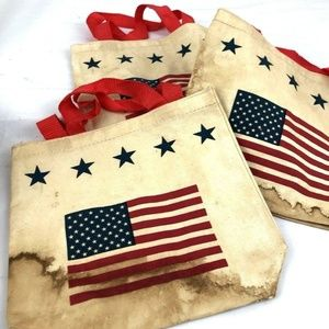 Lot of 3 Primitive Patriotic Flag Tea Stained Amer